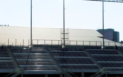 Speakers above the bleachers